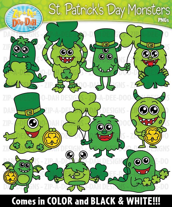 St Patrick's Day Monsters Clipart