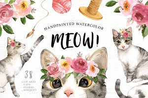 Meow! Cat Lover Watercolor Cliparts