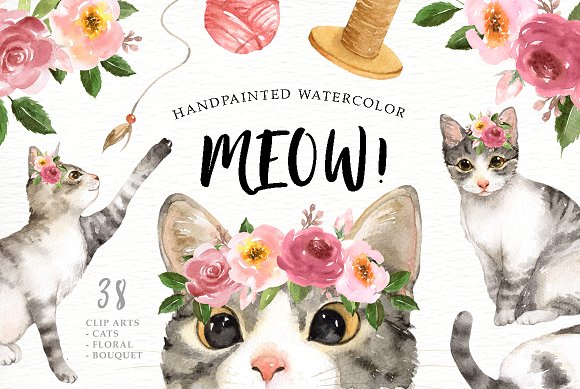 Meow Cat Lover Watercolor Cliparts
