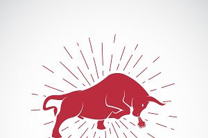 Vector of an angry bull. Animal.