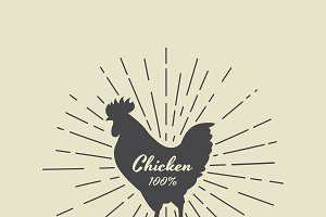 Vector of silhouette of chicken.