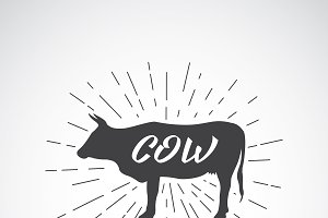 Vector silhouette of cow. Animal.
