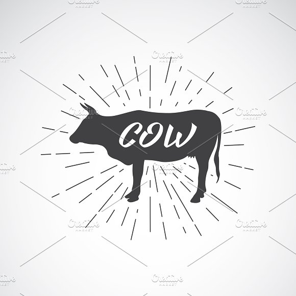 Vector Silhouette Of Cow Animal
