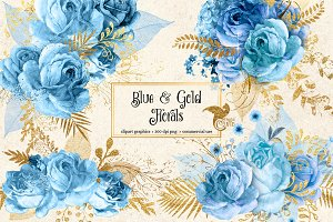 Blue and Gold Floral Clipart