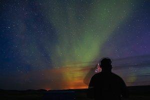 Aurora Borealis over southern Icelan