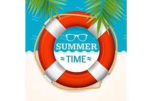 Summer Time Banner with a Life Buoy