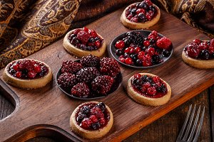 Tartlets with fresh red berries