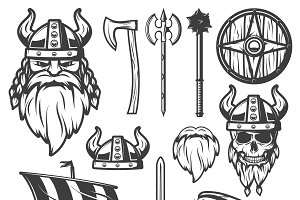 Vintage Viking Icon Set