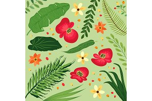 Beautiful botanical pattern with tropical flowers and foliage as banana palm tree leaves