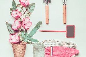 Pastel gardening composing, flat lay
