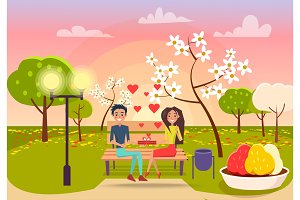 Young Male and Female Sits on Bench and Holds Gift
