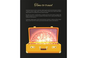 Time to Travel Blazing Banner Vector Illustration