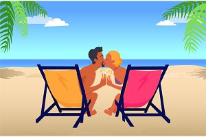Man and Woman Kiss in Recliners on Sandy Beach