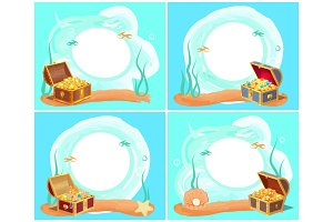 Treasures in Chest Sea Water Vector Illustration