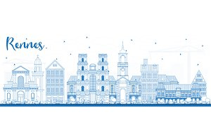 Outline Rennes France City Skyline