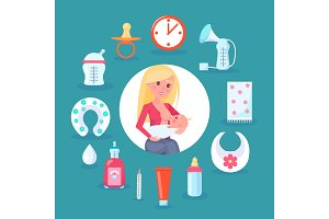 Breastfeeding Mom and Child Vector Illustration