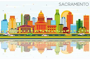 Sacramento USA Skyline with Color