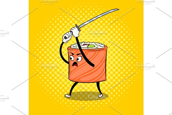 Sushi roll with japanese sword pop art vector in Illustrations