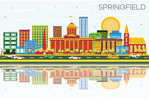Springfield Skyline with Color