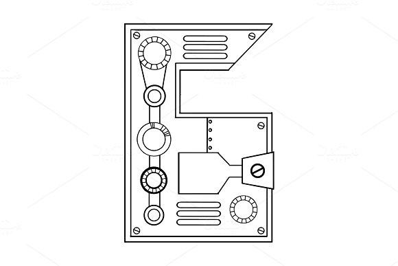 Mechanical Number 6 Engraving Vector Illustration