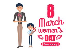 8 March Womens Day Father Son Vector Illustration
