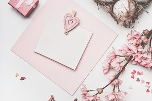 Pastel pink Easter greeting mock up