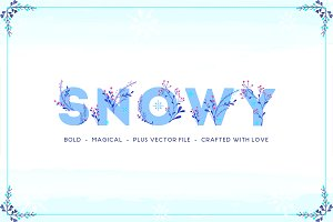50% OFF - Snowy Floral Color Font
