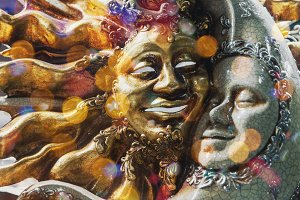 Venetian Sun and Moon mask