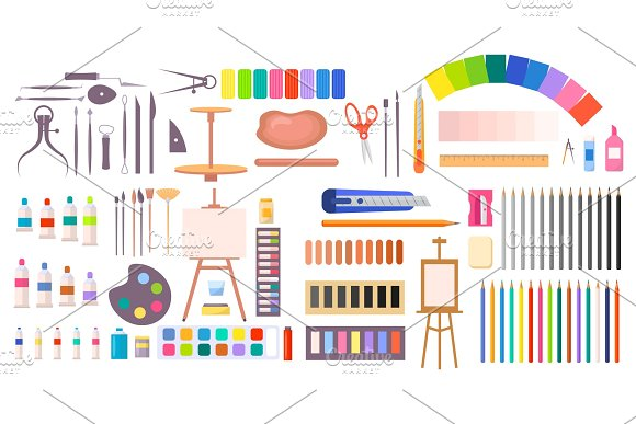 Collection Of Art Supplies Icons Illustration