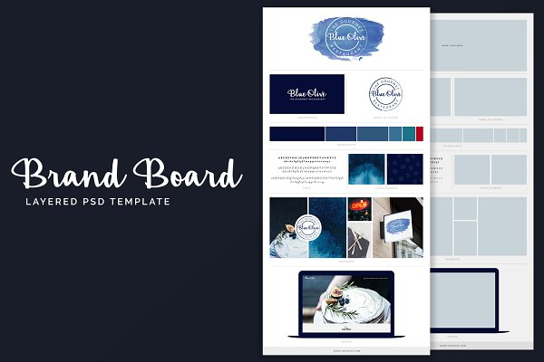 Brand Board Template: Blue Olive