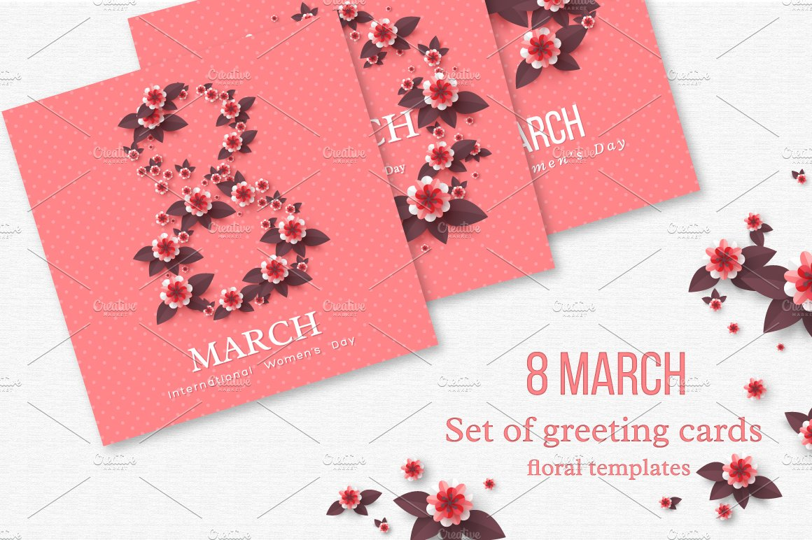 Set Of 8 March Greeting Cards Illustrations Creative Market