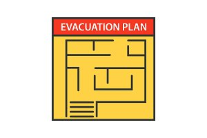 Evacuation plan color icon