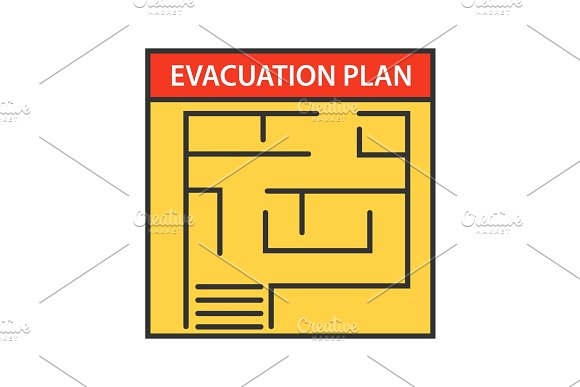 Evacuation plan color icon in Graphics