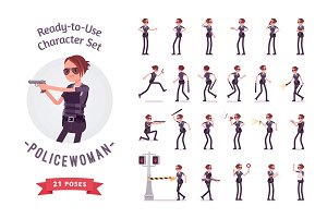 Young policewoman ready-to-use character set
