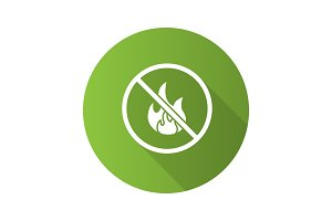 Forbidden sign with fire flat design long shadow glyph icon