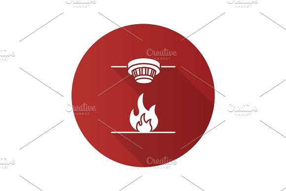 Smoke Detector Flat Design Long Shadow Glyph Icon