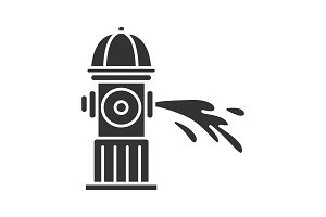 Fire hydrant gushing water glyph icon