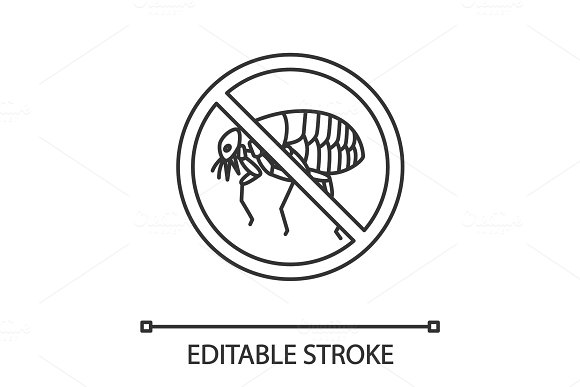 Stop Fleas Sign Linear Icon