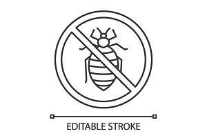 Stop bed bug sign linear icon