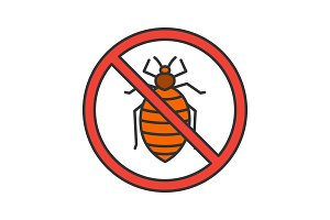 Stop bed bug sign color icon