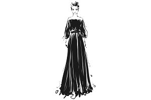Beautiful young girl for design. Fashion model sketch drawing. Black long dress.