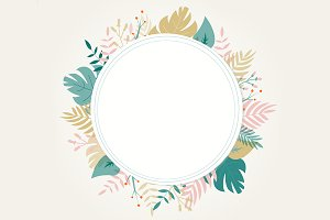 Round floral frame on white
