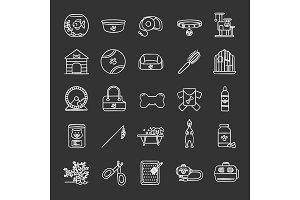 Pets supplies chalk icons set