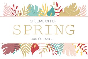 Banner with sale info in floral