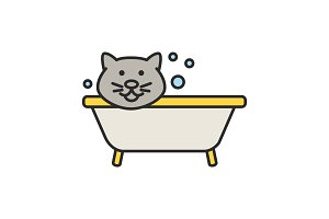 Bathing cat color icon