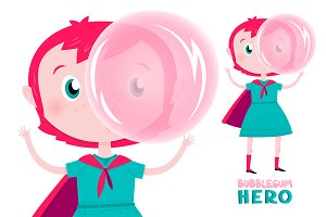 Bubblegum Girl cute character