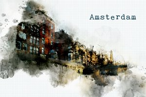 watercolor style - Amsterdam