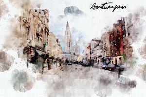 watercolor style - Antwerpen