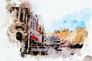 watercolor style - Antwerpen2