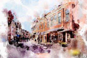 watercolor style - Voorburg